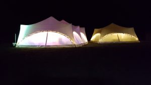 CU17 marquees at night