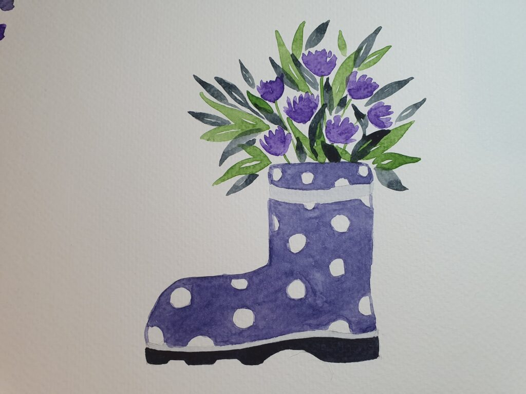 Watercolour flowers in welly boot